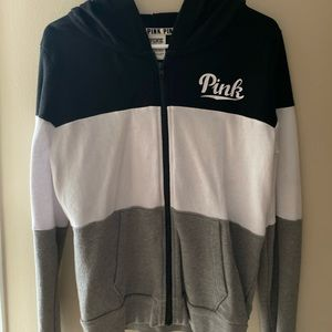 black, white, and gray full zip. warm and cozy!